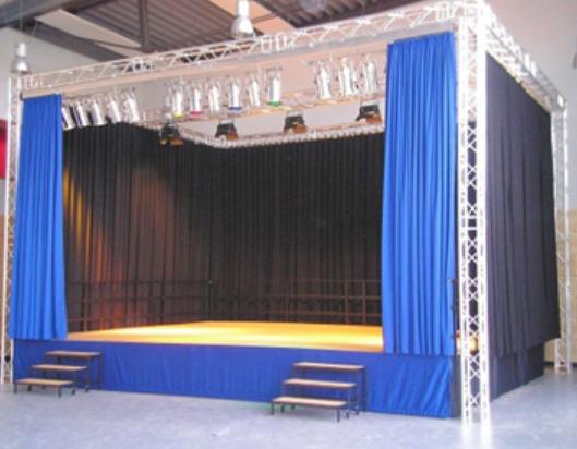 telones de teatros en terciopelo azul